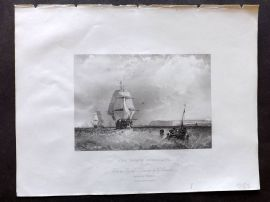 Holmes C1840 Antique Print. North Foreland, Kent. Ships